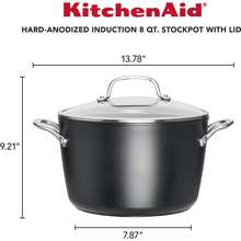 KitchenAid 8 Quart Large Hard Anodized Induction Nonstick Kitchen Cooking Stock Pot Stockpot with Glass Clear Lid Cover Matte Black