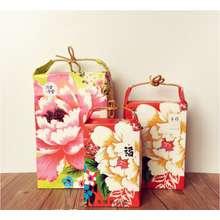 Wedding Tea Packing Bag Donkey-hide Gelatin Date Cake Kraft Paper Bag Specialty Camellia Leaf Egg Yolk Crisp Portable Paper Bag Gift Bag 5pcs