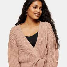 Topshop Topshop tie wrap knitted cardigan in rose pink