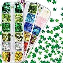 Clover St. Patrick'S Day Clover Nail Sequin 36 Colors Shamrock 3D Nail Art Laser Holographic Glitter Sequins Nail Flakes Acrylic Diy Manicure Decoration Accessories