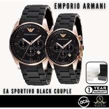 Armani *Sg* Sportivo Coated Chronograph Black Mens & Ladies Couple Watch Ar5905 Ar5906