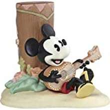 Precious Moments Precious Moments Playing Ukulele 192702 Disney Showcase Mickey Mouse Life Is A Sweet Melody With You Bisque Porcelain Figurine, Multi