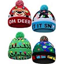 led Satinior 4 Pieces Led Christmas Beanie Hat Led Light Up Xmas Hat Knit Christmas Cap With 6 Lights