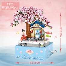 Loz 806Pcs Compatible Lego Cherry Blossom Music Box Mini Particles Diy Children Assembled Building Block Toy Birthday New Year Gift 1221 (806PCS-no box)