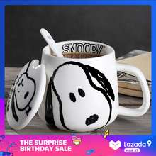 Snoopy [Tenkou] Mug / Ceramic Cup / Water Cup / Tea Cup With Lid And Spoon 350ml (The best gif)