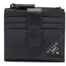 Prada Logo Lettering Saffiano Wallet Black