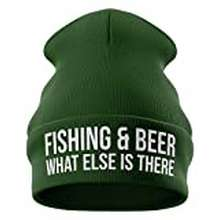 Hot Wheels Fishing And Beer, Funny Beanie Hat, Fishing Gifts For Men Novelty Skull Cap (Bottle Green)