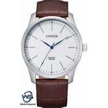 CITIZEN Bh5000-08A Analog Quartz White Dial Brown Leather Men'S Watch