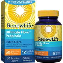 Renew Life Adult Probiotic - Ultimate Flora Extra Care Probiotic Supplement - Gluten, Dairy & Soy Free - 50 Billion Cfu