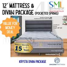 UNICORN 12 Inches Pocketed Spring Mattress with Divan Bed Frame Package - Medium - Krysta