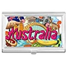 Kangaroo Diylab Kangaroo Harbour Bridge Australia Graffiti Business Card Holder Case Wallet