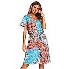 Hot Wheels Womens Sleep Shirts Cotton Nightgowns For Women House Dresses Button Down Housecoat Short Sleeve Sleep Dress Print Mumu Dress Night Shirt…