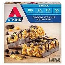 Atkins Snack Bar, Chocolate Chip Crisp/Nutty Fudge Brownie/Peanut Caramel Cluster/Vanilla Pecan Crisp/Choco Chip Granola