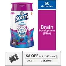 SCOTT'S SCOTTS Chewable DHA Gummies Fish Oil Omega 3 (Black Currant Flavour) 60s Vitamins