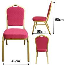 TheGoodFurniture Designer Chair. Fabric. Cushion Seat. Banquet Chair. Gold Metal Frame. Dining. Backrest. Black. Metal. Sturdy. Durable.
