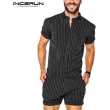 INCERUN Men'S Casual Striped Short Sleeve Buttons Up Short Jumpsuit