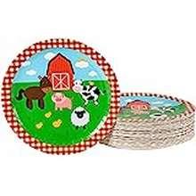 Panda Farm Birthday Party Supplies, Farmhouse Plates (9 In., 80 Pack)