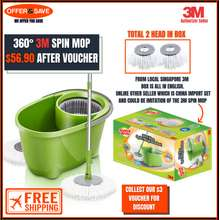 Scotch Brite [Free Shipping] [Total 2 Mop Head] 3M Scotch-Brite 360 Degree 2 in 1 Eco Spin Mop Bucket Set T0 1+1 Mop Head Best House Warming Gift
