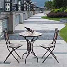 Creative Creative Mosaic Iron Folding Round Dining Table American Outdoor Coffee Table