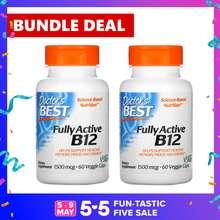 DOCTORS BEST 2 x Fully Active B12 (MethylCobalamin) 1500mcg 60 Veggie Caps