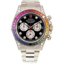 Rolex Cosmograph Daytona Chronograph Rainbow Diamond Black Dial Watch 116599 RBOW