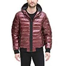 DKNY Dkny Men'S Quilted Performance Hooded Bomber Jacket, Beet Red Pearlized, Large
