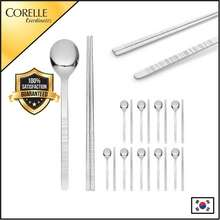 Corelle [From Korea] 10 Pairs Of High-Grade Stainless Steel Spoon And Chopsticks Silver Color Alloy Chopsticks Tableware Kitchen Reusable Set