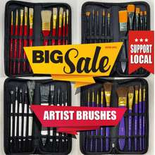 ArtFarm Singapore ✅ Paint Brush Set 10 Pieces Watercolour Acrylic Oil Gouache Painting Brushes Set Nylon Brushes Horse Hair Brush Bristles