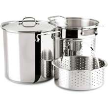 All-Clad Specialty 12 Quart Extra Deep Professional Pro Chef Stainless Steel Dishwasher Safe Multi Kitchen Cooking Cooker Stock Pasta Steamer Pot Cookware Set.