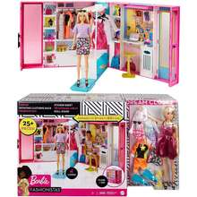 Barbie {READY STOCK} Dream Closet with Blonde Doll & 25+ Pieces Toy Closet Expands to 2+ ft Wide & Features 10+ Storage Areas Full-Length Mirror Customizable Desk Space and Rotating Clothes Rack