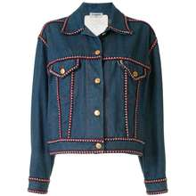 CHANEL Pre Owned Braided Trim Denim Jacket Blue