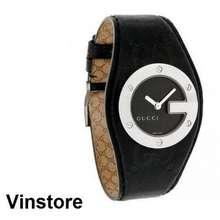 Gucci [Vinstore] [100% Authentic] GG logo Stainless Steel Quartz Women Watch Black leather strap Black Dial Watch YA104541