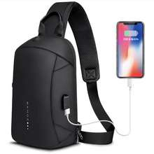 KAKA Bange Fashion Multifunction Crossbody Bags Men USB Recharging Chest Pack Short Trip Messenger Chest Bag Waterproof Shoulder Bag