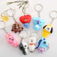 BTS Key Holder Korean-Style Cutebullet-Proof Youth League Three-Dimensional Doll Soft Glue Key Chain Men'S And Women'S Bag Pedants Ornaments Gifts