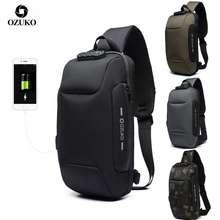 Ozuko Men Anti-Theft Lock Sling Bag Fashion Chest Pack Waterproof Usb Crossbody Bag