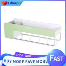 ecoco Filterpur Multifunction Punch Free Bathroom Shampoo Cosmetic Storage Rack With Space Aluminum Towel Bar Magnetic Soap Holder 5 Movable Hooks Drawer Phone HolderKitchen Shelf Toiletries Holder Organizer