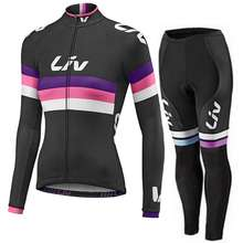 Women Cycling Jersey Set Liv Bicycle Jersey Long Sleeve Cycling Clothing Gel Padded Pants