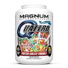 MAGNUM USA _ Nutraceuticals Quattro Protein Powder - 4lbs - Fruity Hoops - Pharmaceutical Grade Prot