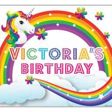 UNICORN Party Wholesale Rainbow Magical Head Custom Giant Banner - 100cm x 90cm