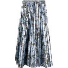 Valentino Pleated Floral Print Skirt Blue