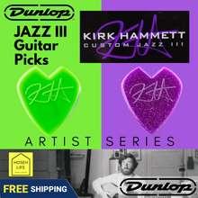 Dunlop [Sg Instock] Kirk Hammett Dunlop Artist Series Original Purple Sparkle Guitar Picks - Nylon V-Shaped Better Grip