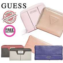 GUESS *Sg* Women'S Faux Leather Wallet In Blue Black Pink Rose Gold [In Stock Sg]